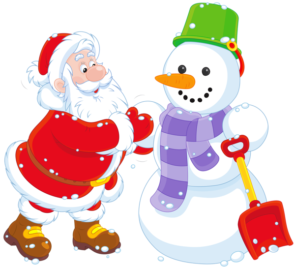 Transparent santa and snowman. Clipart cross winter