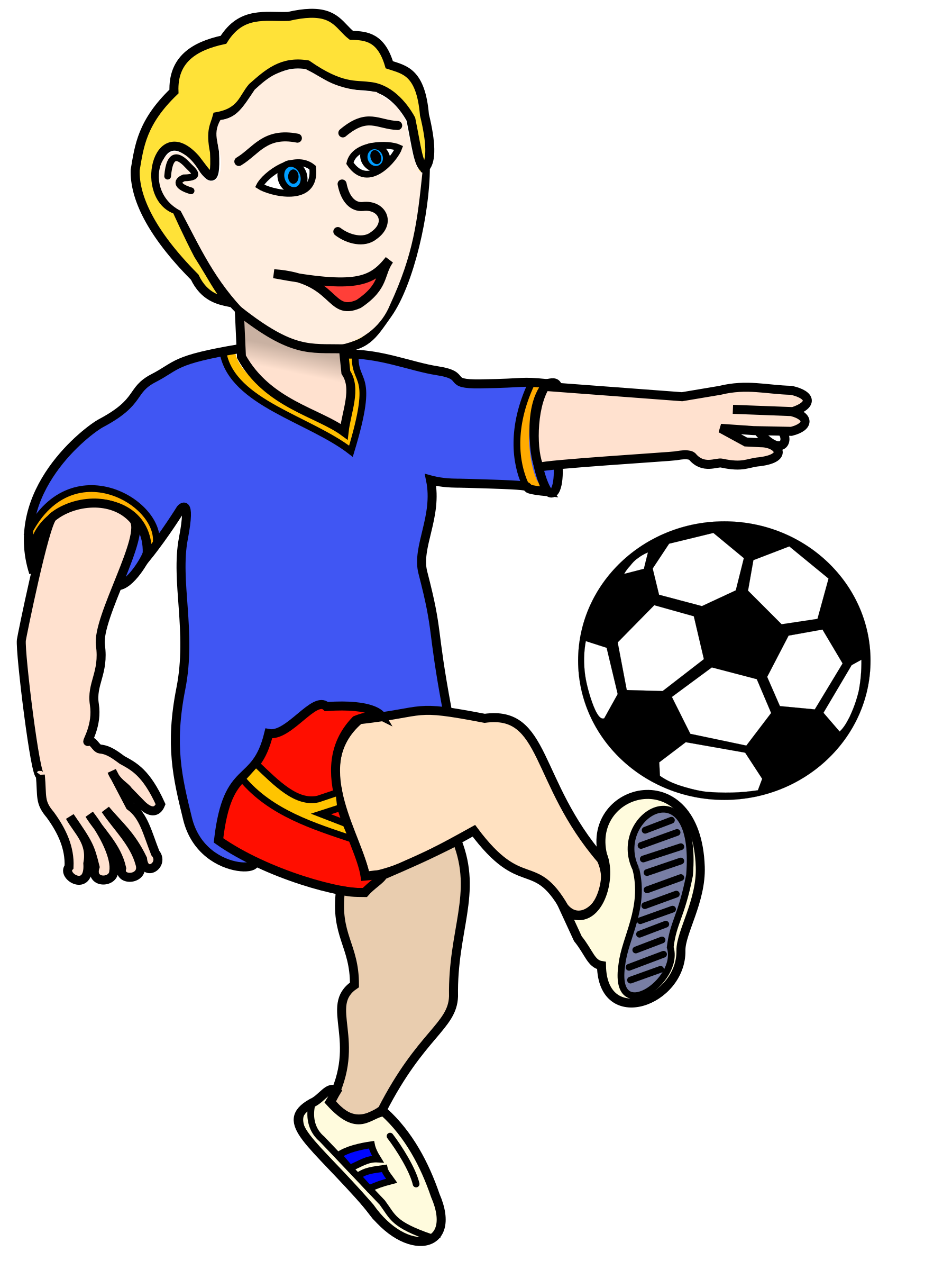 Football clipart baby. Soccer playing boy coloured