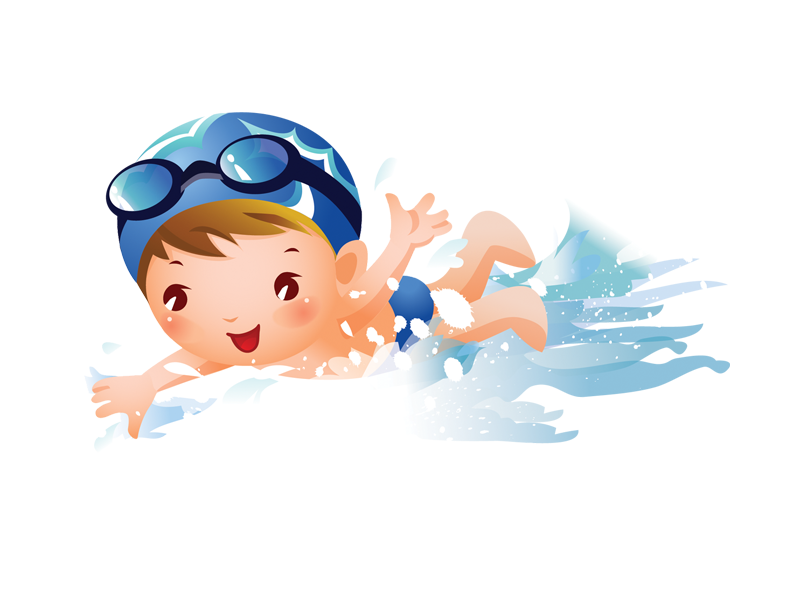 Swimming child girl clip. Clipart woman diving