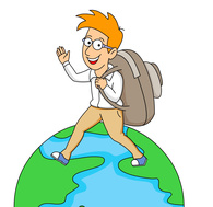 Boy adventure clip art. Traveling clipart travel plan