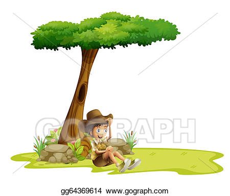 Vector art a resting. Tree clipart boy