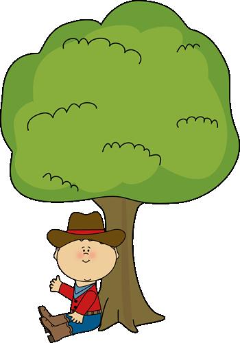 Tree clipart boy. Cowboy sitting under a