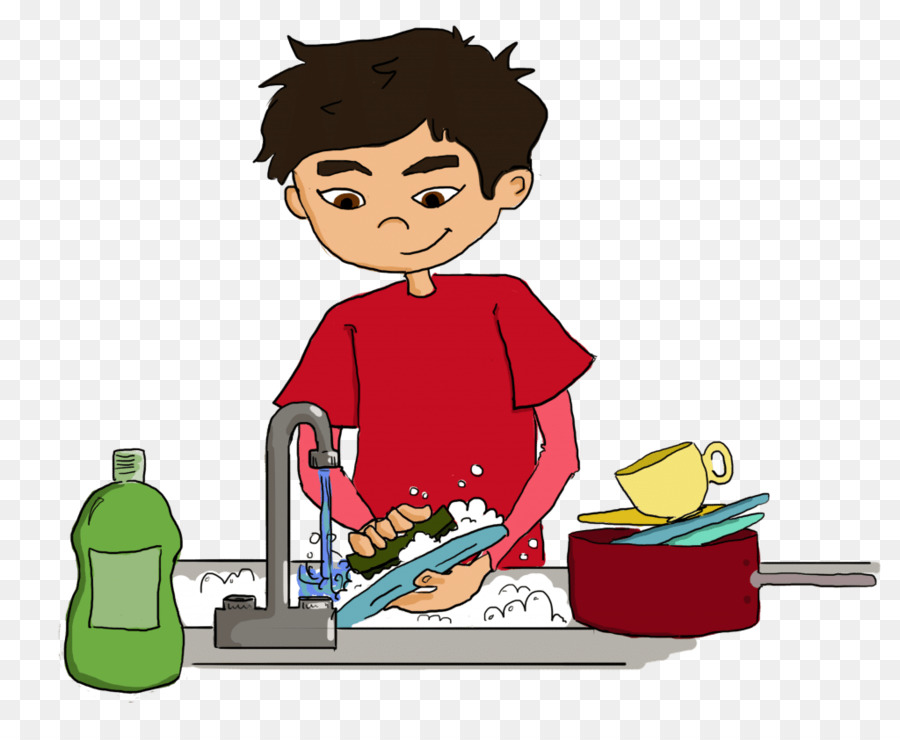 Eating cartoon child cleaning. Dishwasher clipart boy