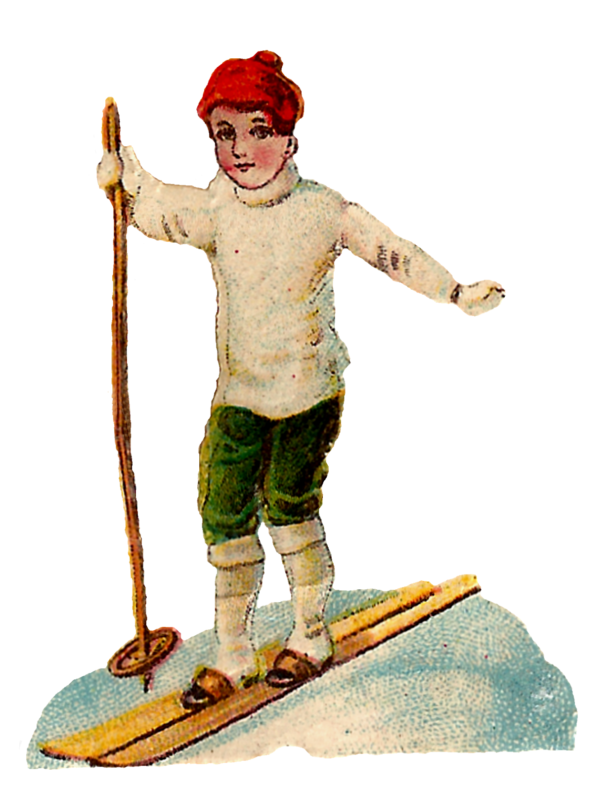 Antique images free vintage. Girl clipart skiing
