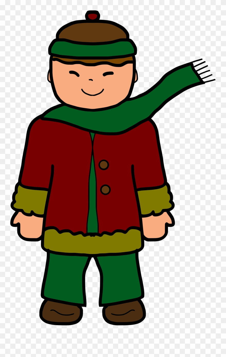 Diner kid in clothes. Winter clipart boy