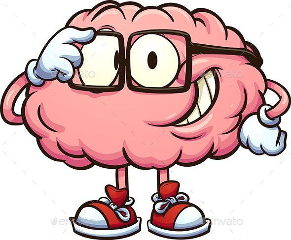 Clipart brain animated. Nerdy cartoon adjusting glasses