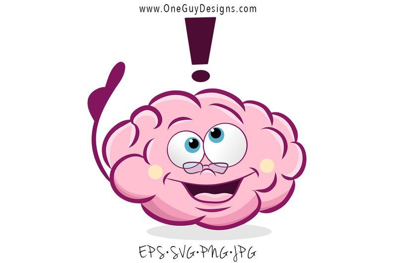 Clipart brain cartoon. Cute svg png file