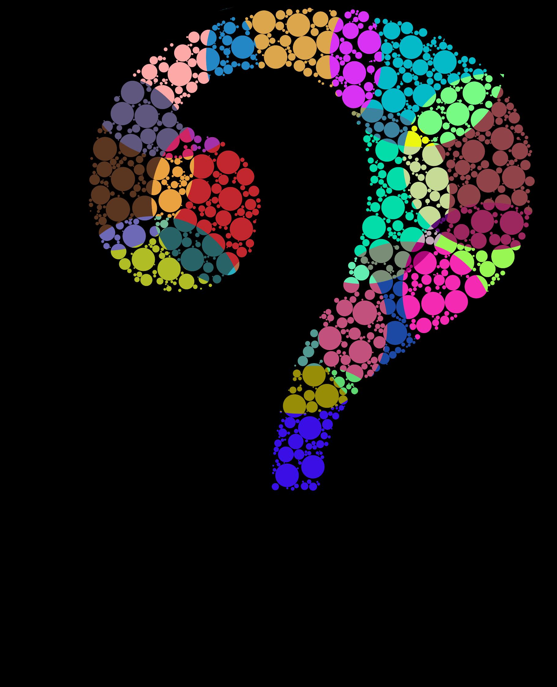 Head clipart question. Colorful circles big image