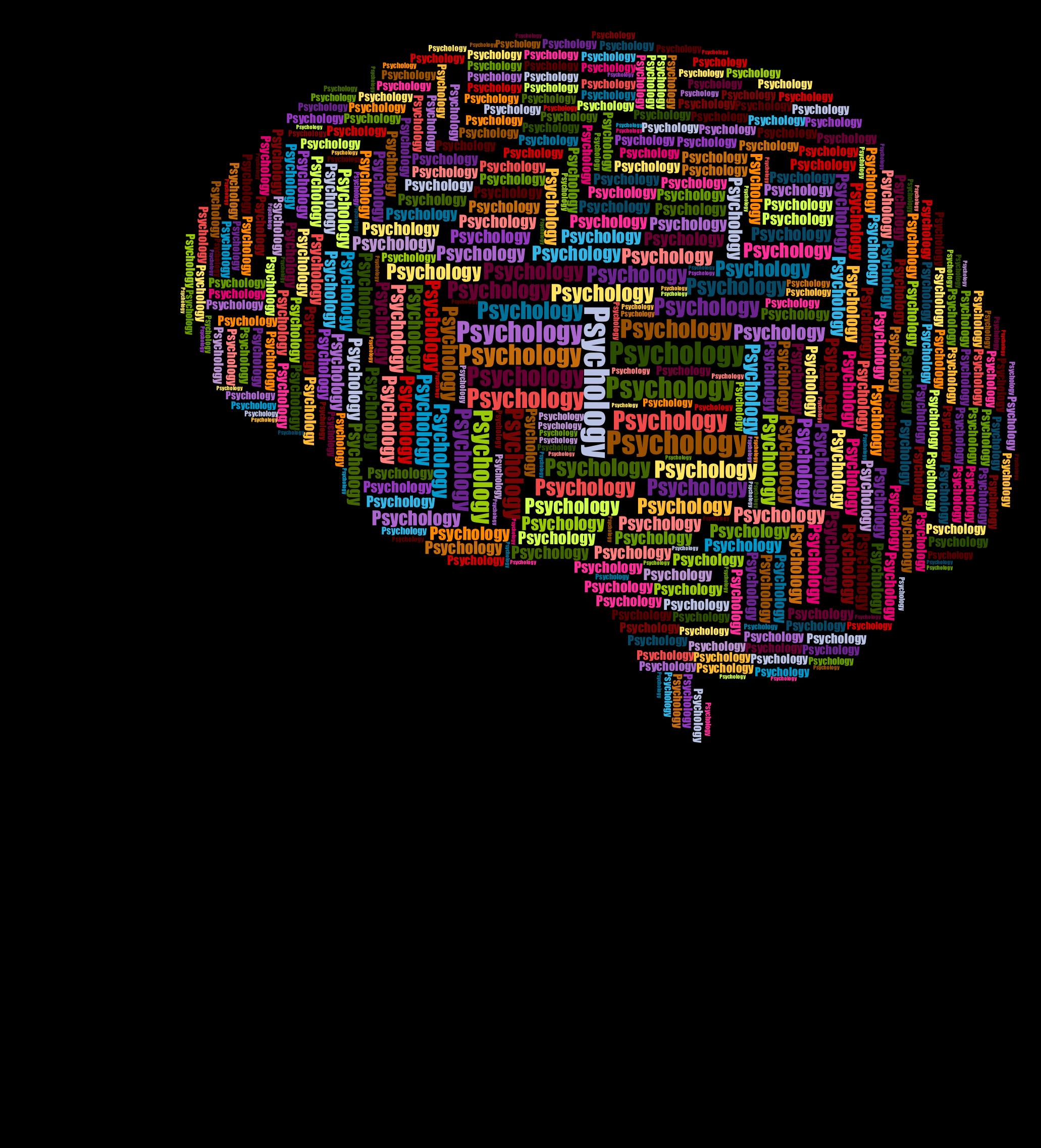 Man head brain wordcloud. Psychology clipart logo design