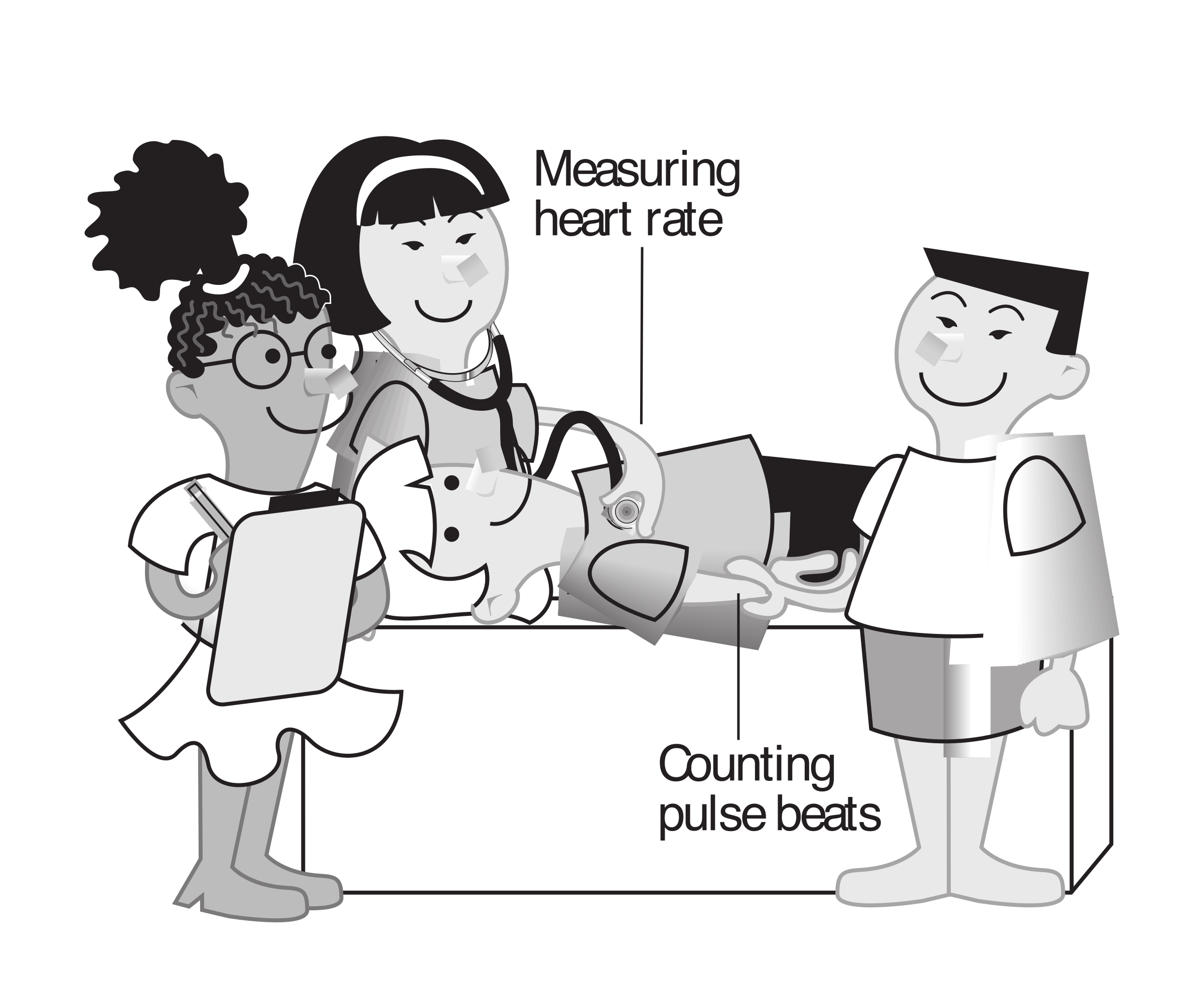 Heartbeat clipart nurse. Kids measuring heart rate
