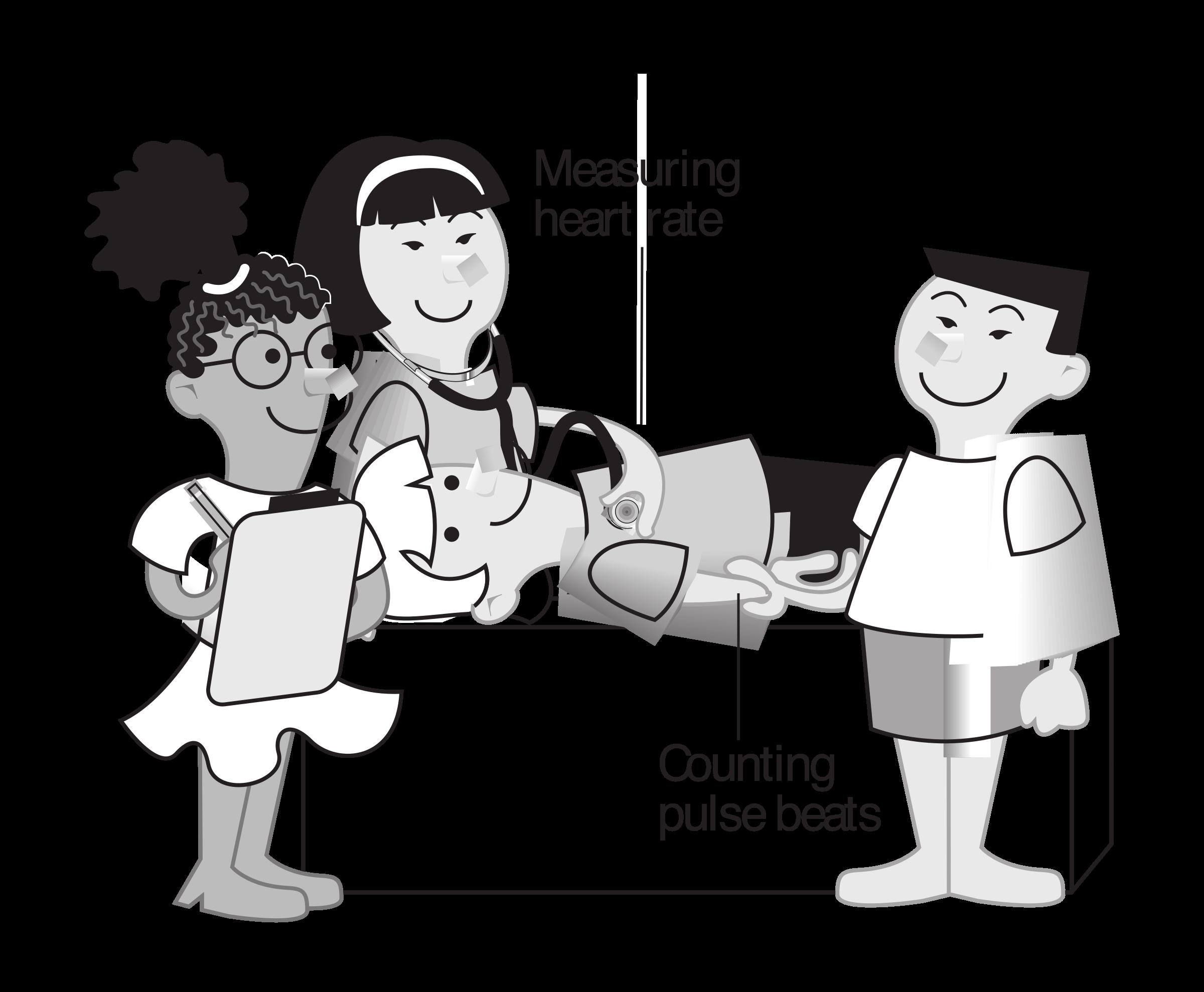 Nursing clipart interaction. Kids measuring heart rate