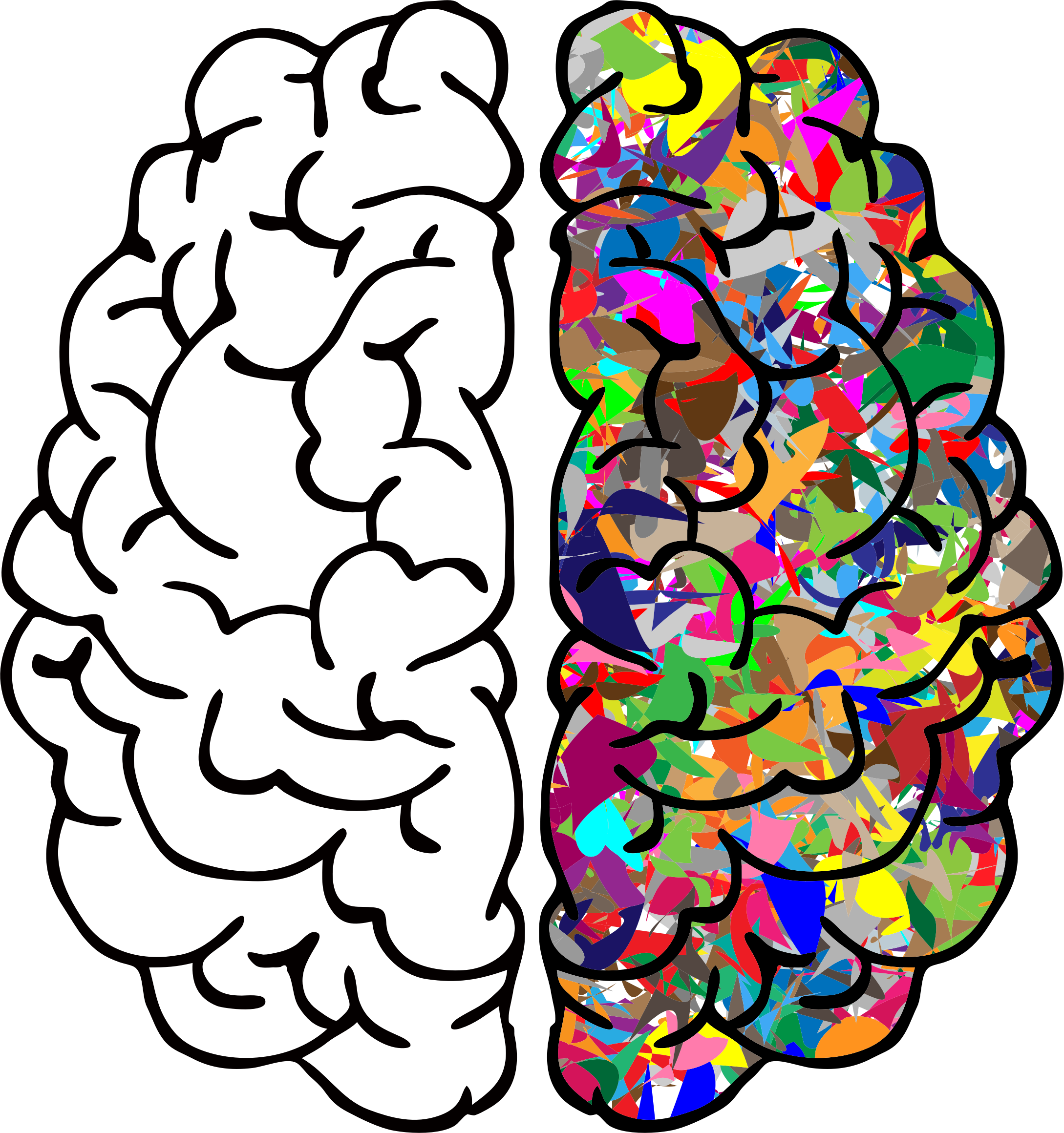 Clipart brain line art. Abstract prismatic big image