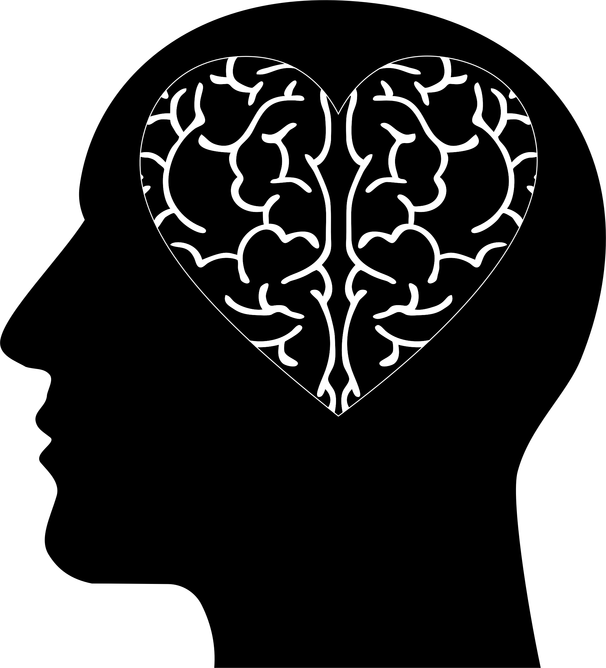 Brain heart big image. Psychology clipart mind