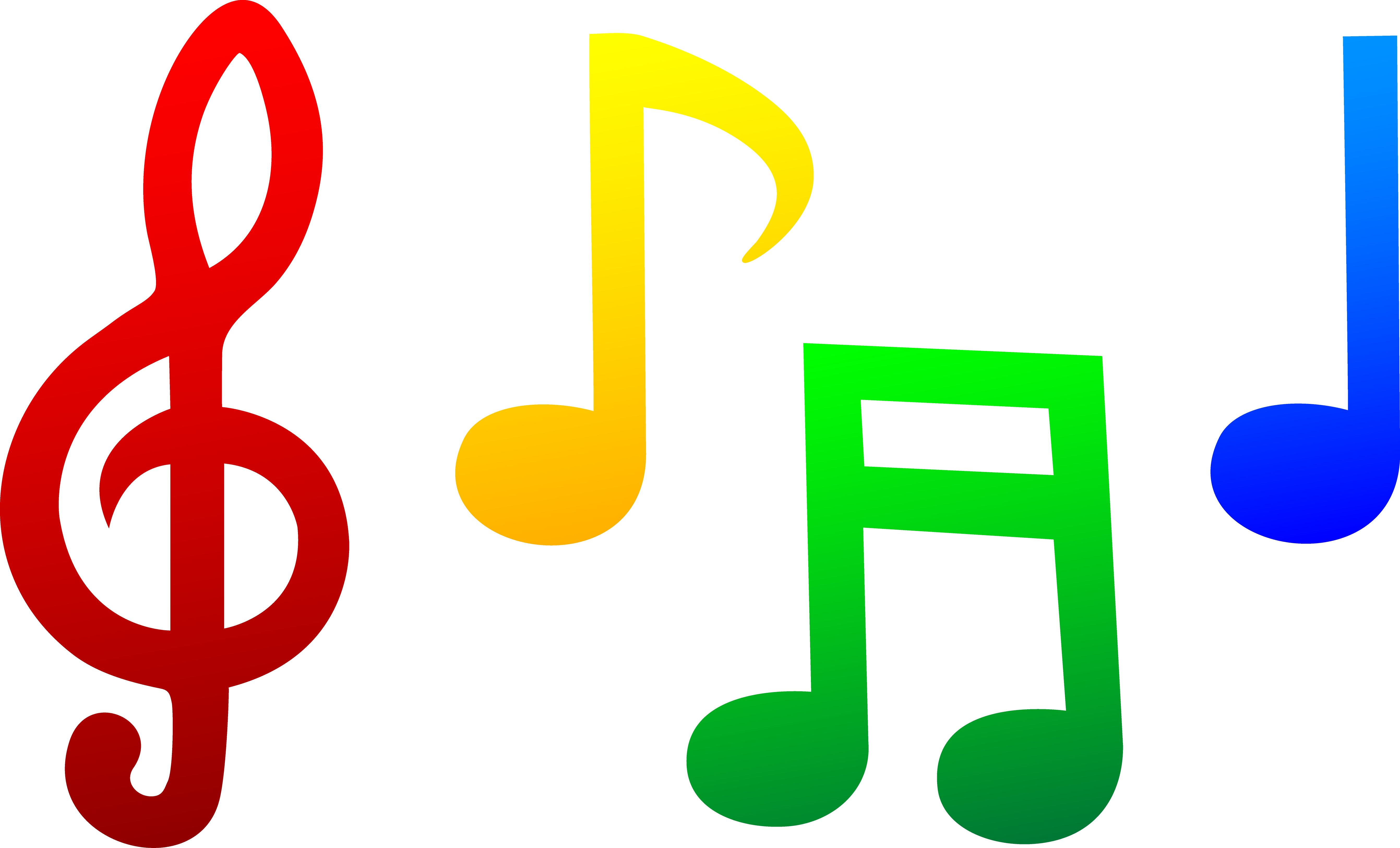 Notes clipart class record. Colorful music note clip