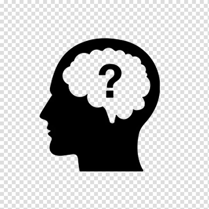 Thought question brain icon. Confused clipart human thinking