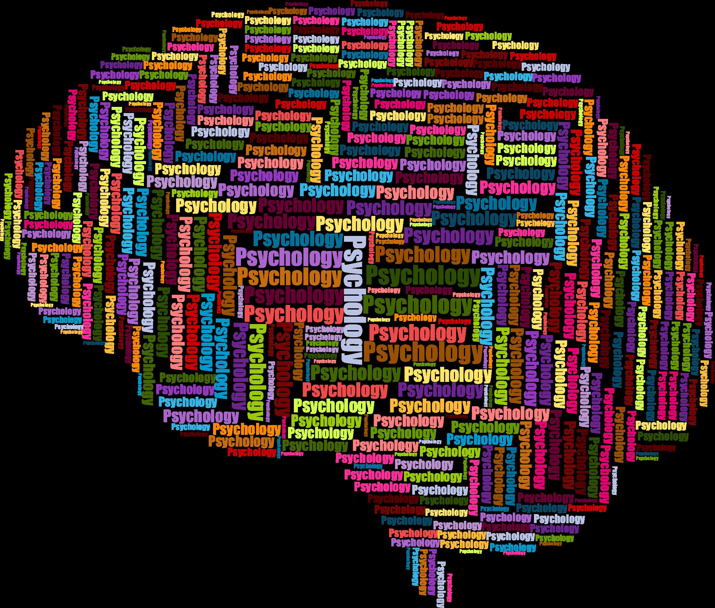 Brain wordcloud big image. Psychology clipart psycology