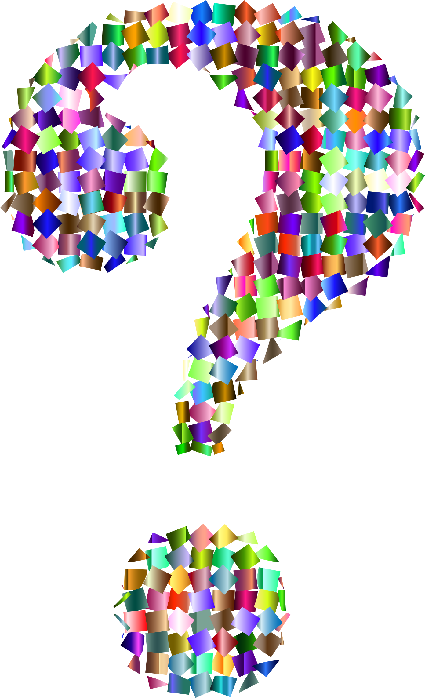 Prismatic question mark image. Confetti clipart big