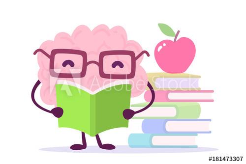 Enjoyable education cartoon concept. Clipart brain reading