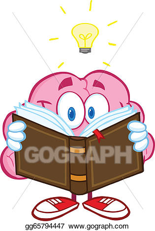 Clipart brain reading. Vector art a book