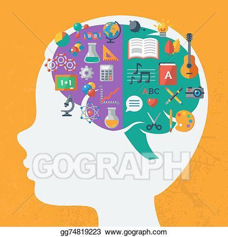 Vector art creative idea. Clipart brain school