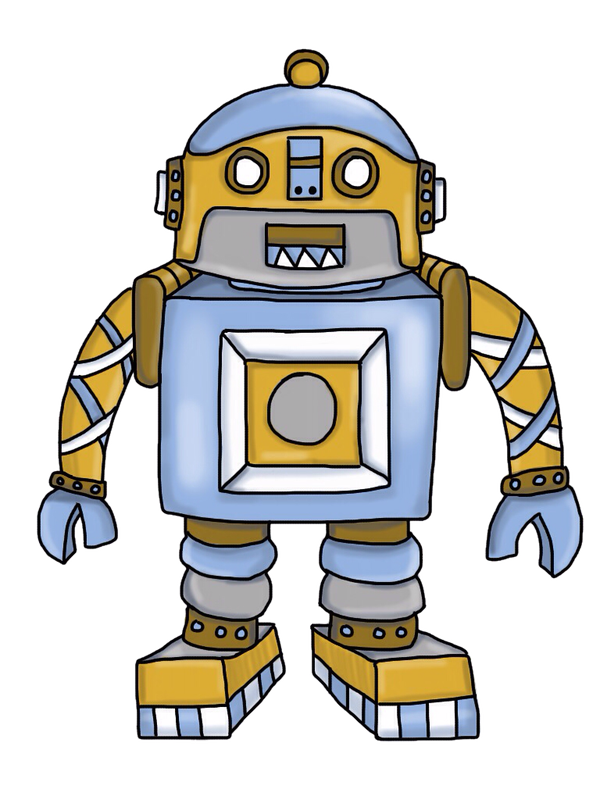Paper circuits add steam. Clipart writing robot