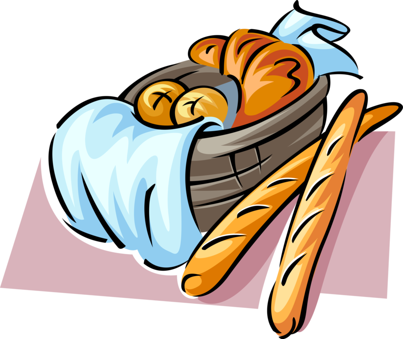 French clipart french croissant. Baguette bread with vector