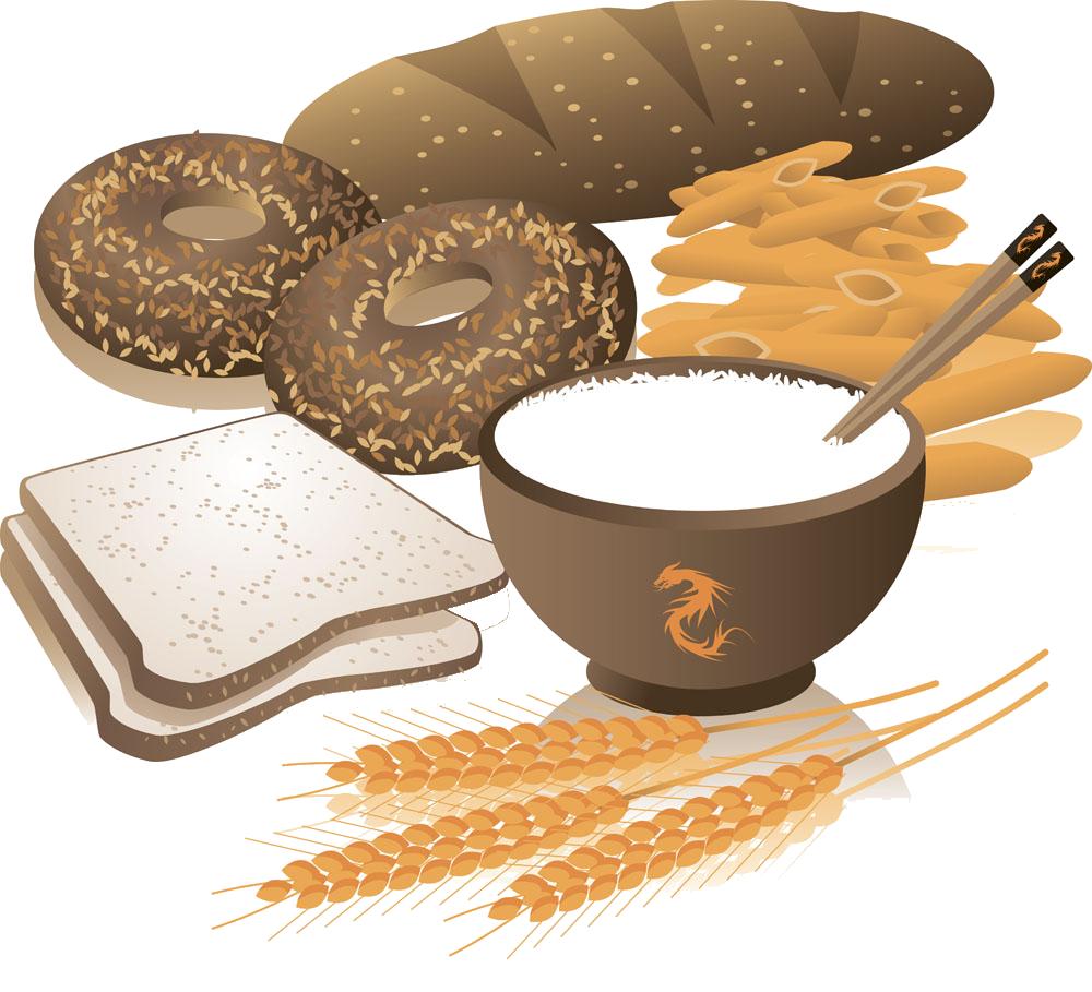 Breakfast cereal whole bread. Wheat clipart grain bag