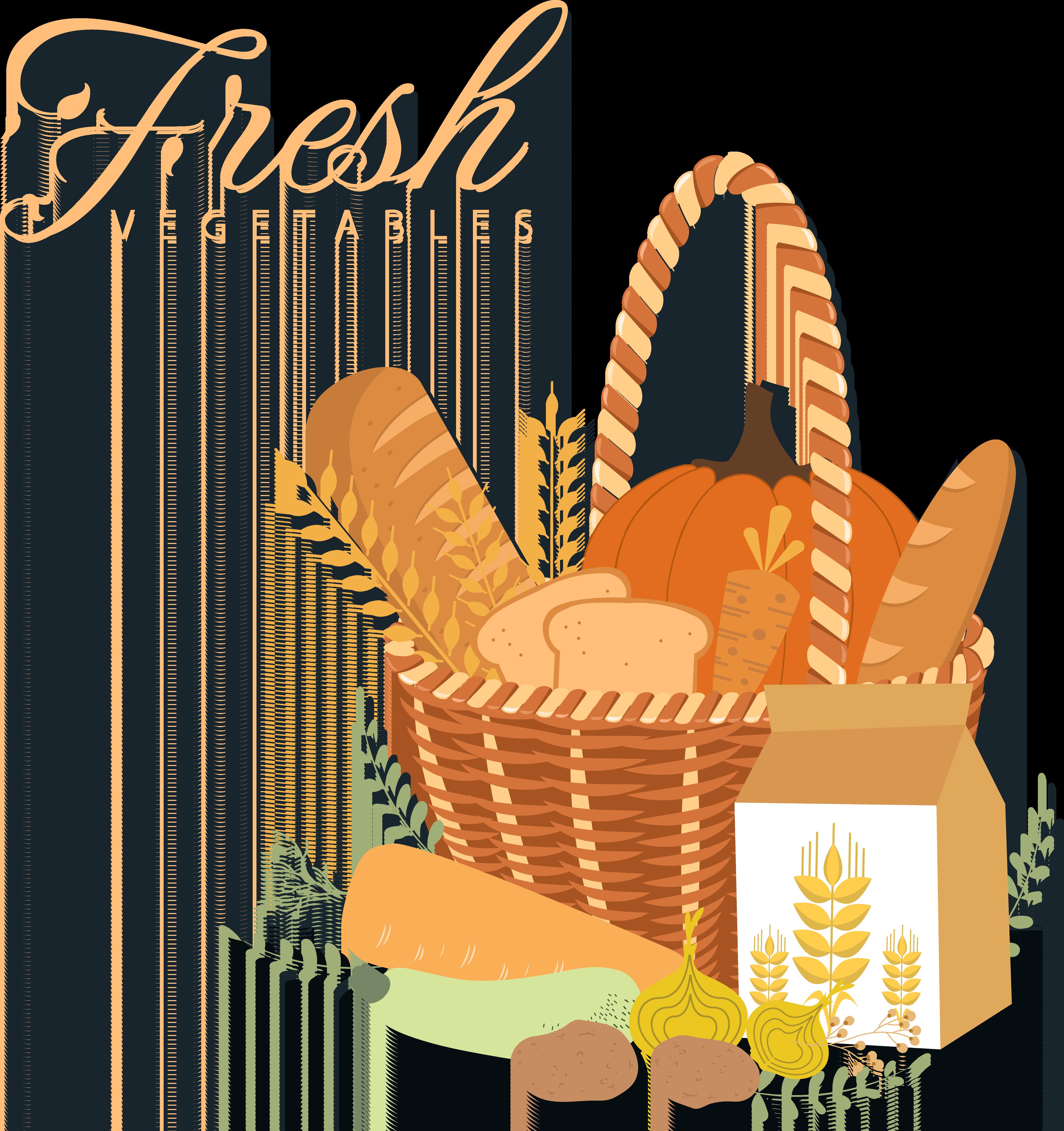 Milk common bread food. Wheat clipart basket