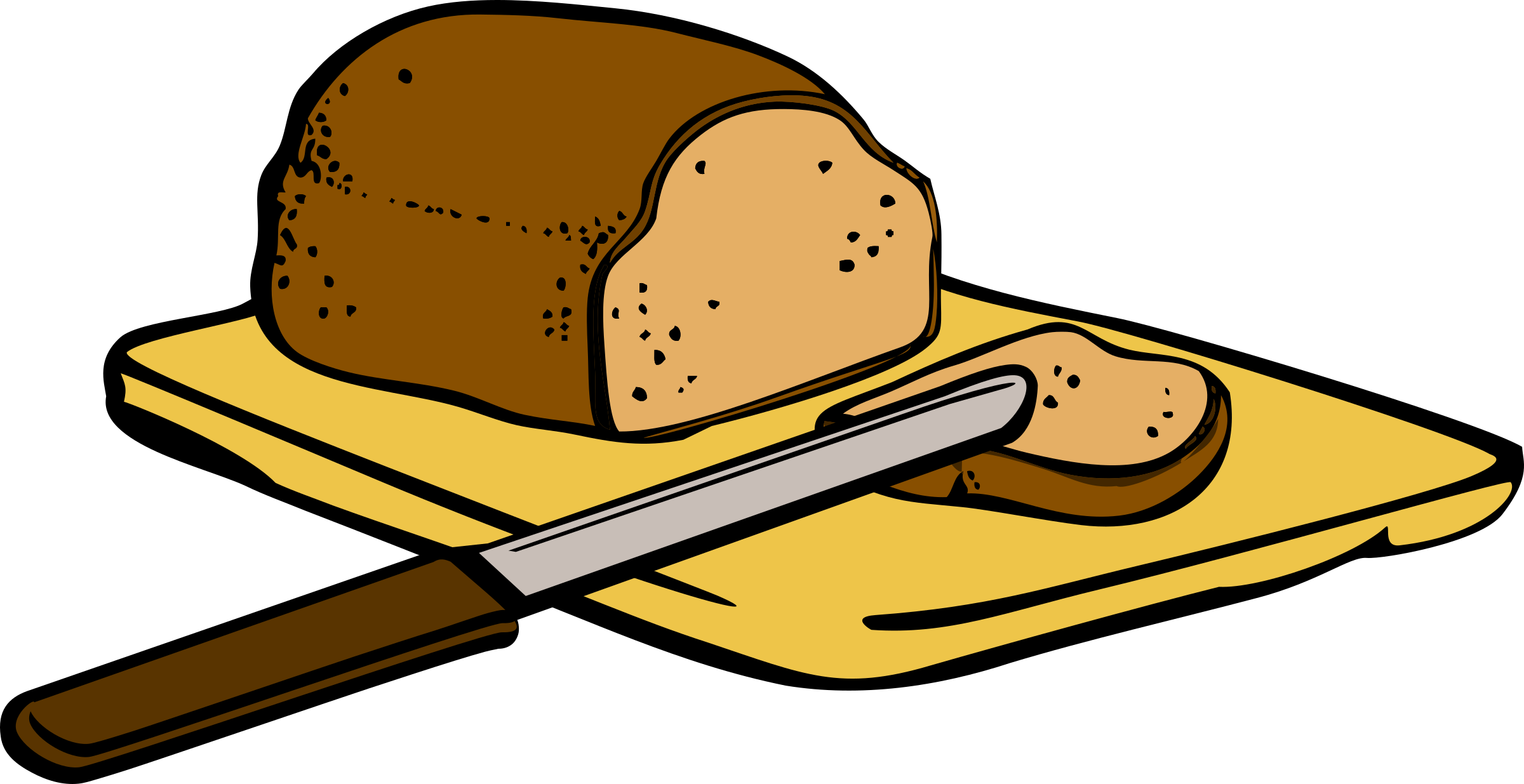 Clipart fish bread. With knife on cutting