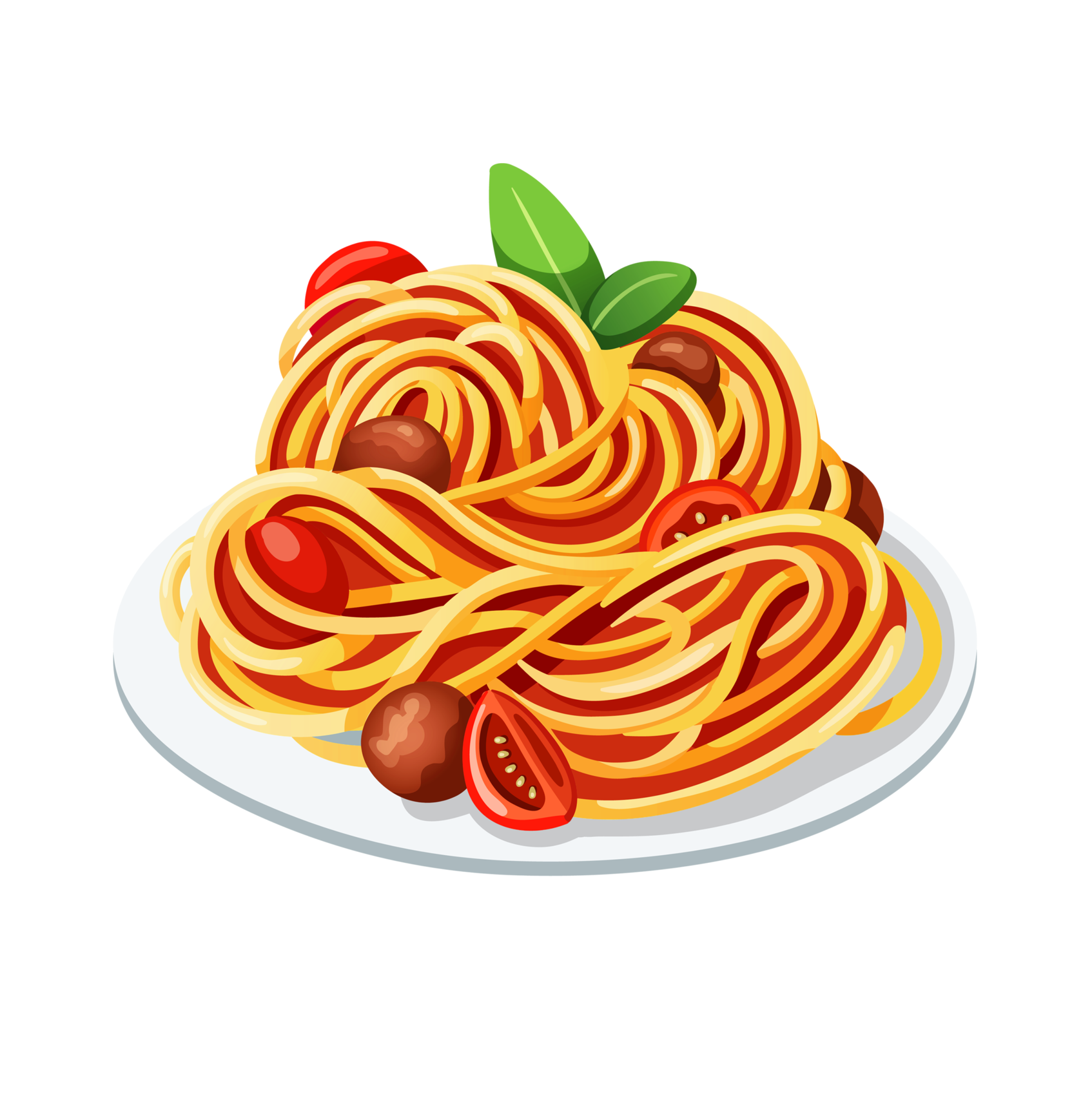 Italian clipart spaghetti italian. Pasta cuisine with meatballs