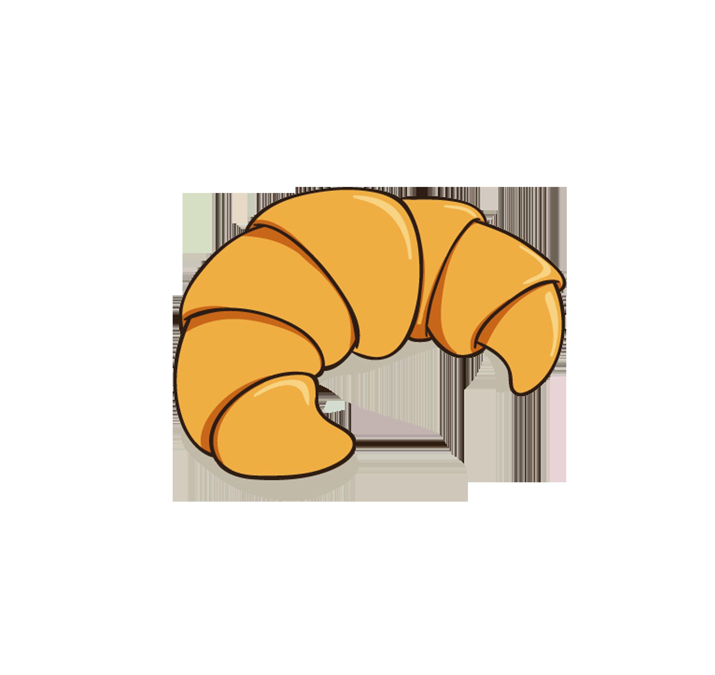 Croissant hand painted cartoon. Clipart bread breakfast bread