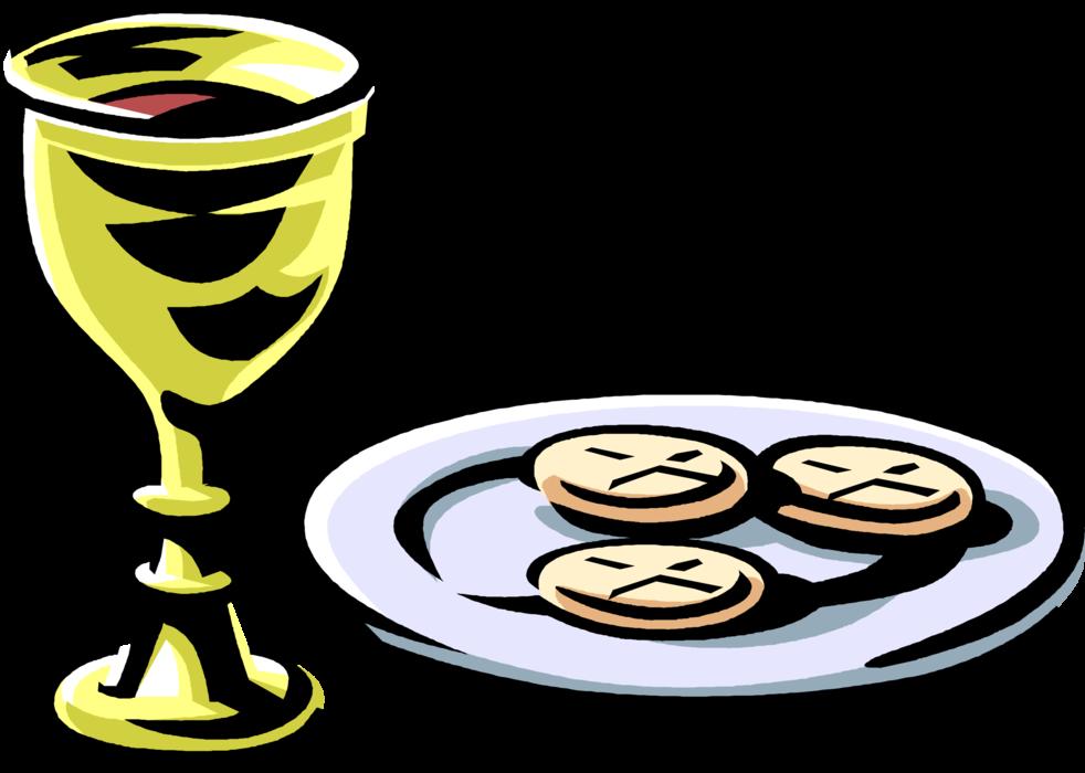 Communion clipart catholic mass. Wine and bread vector