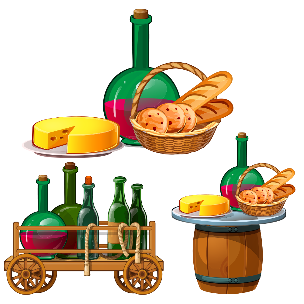 Clipart bread cheese bread. Cartoon illustration wine transprent