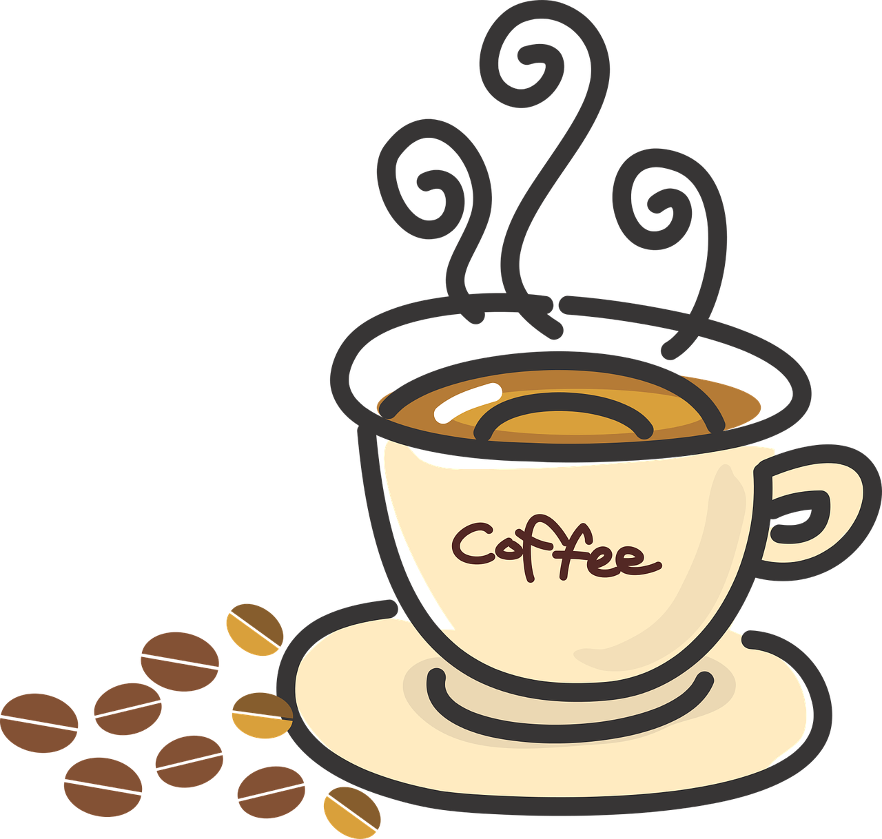 collection of social. Clipart coffee kawaii