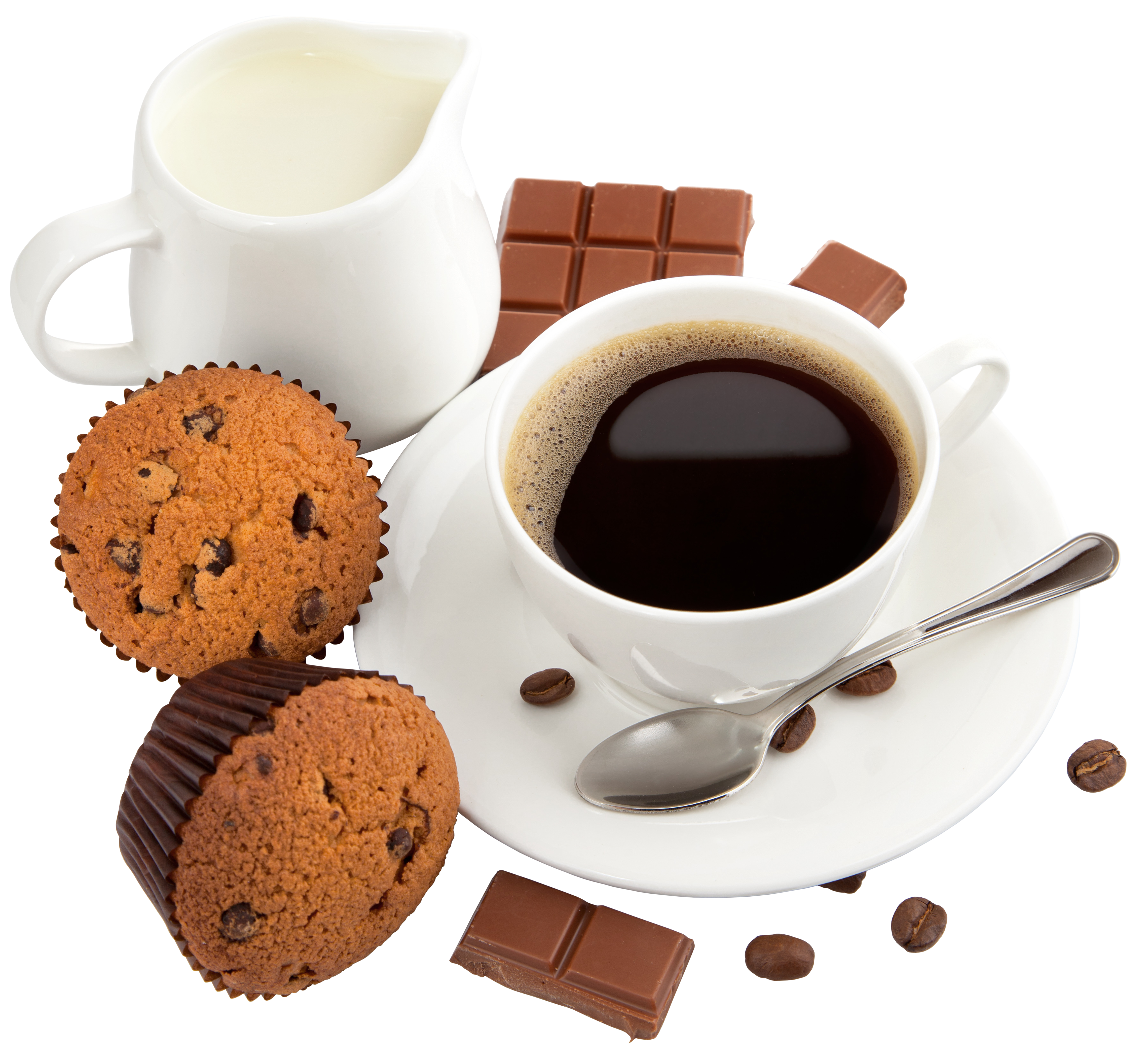 Coffee with muffins and. Drinks clipart milk powder