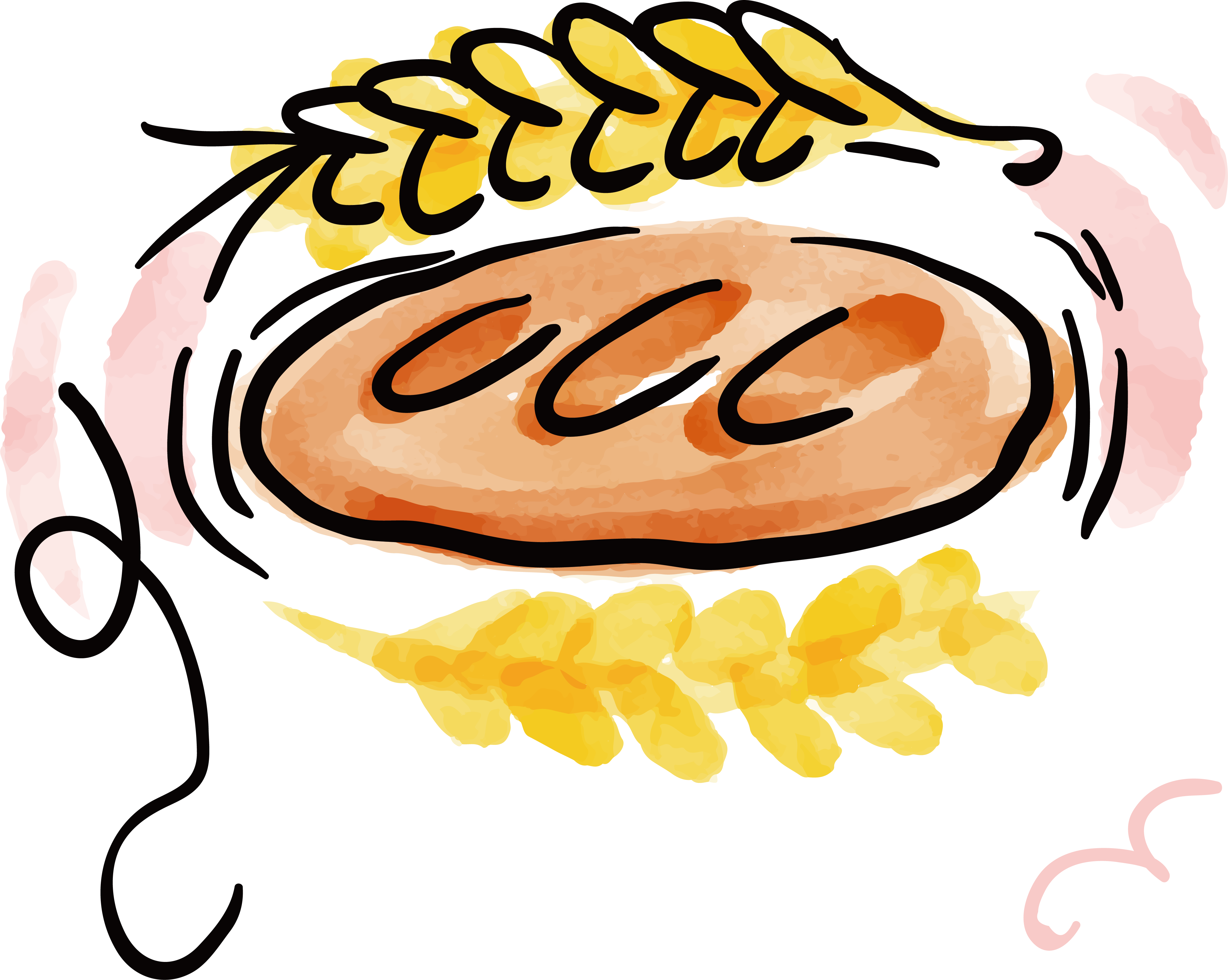 Wheat clipart watercolor. Croissant bread painting baking