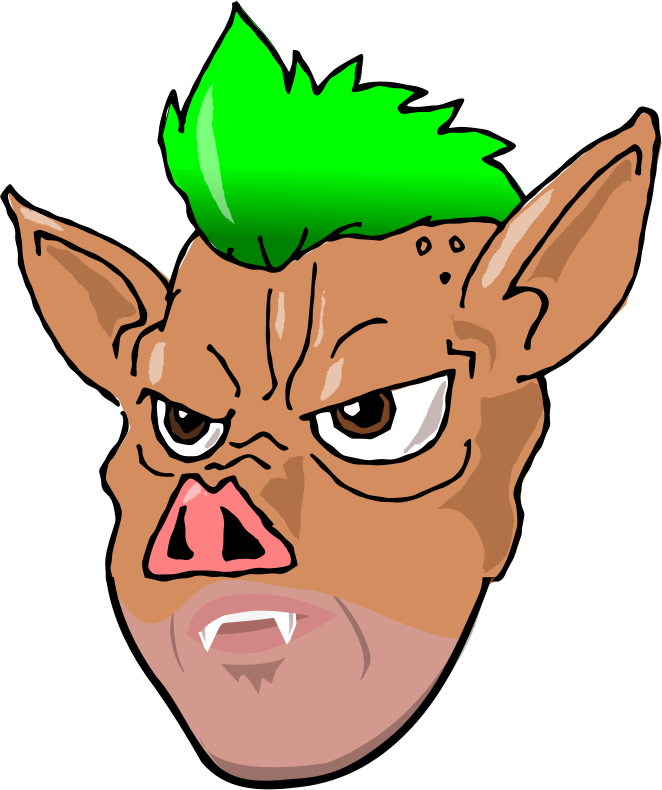 Ham clipart face. Mohawk hairstyle drawing clip