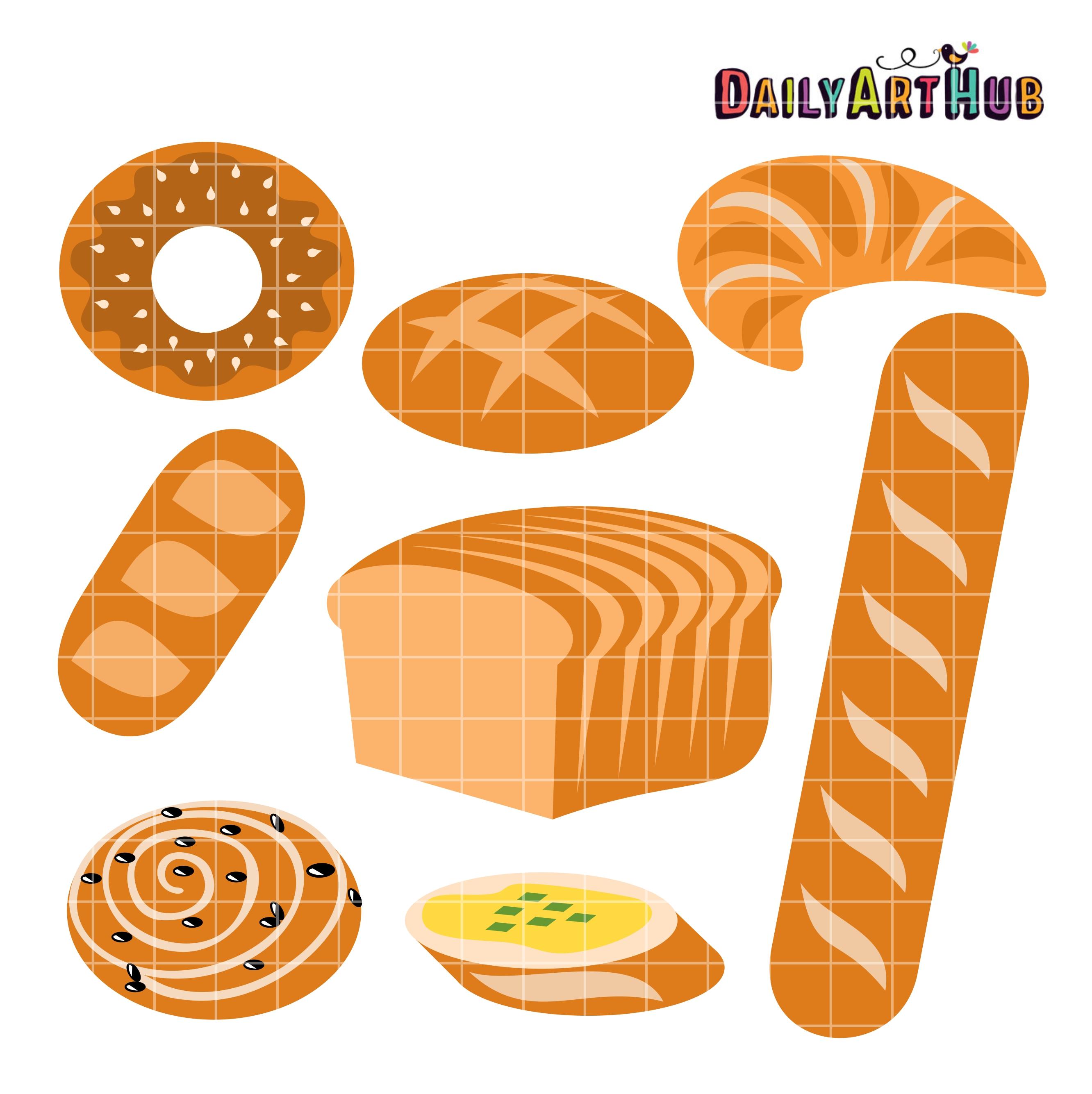 Breads clip art set. Clipart bread high quality