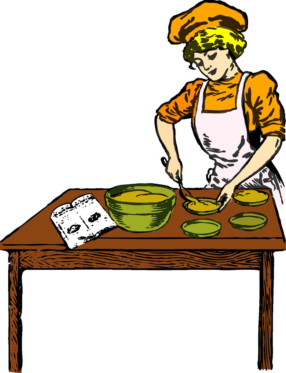 Food woman baking bakery. Clipart bread homemade bread