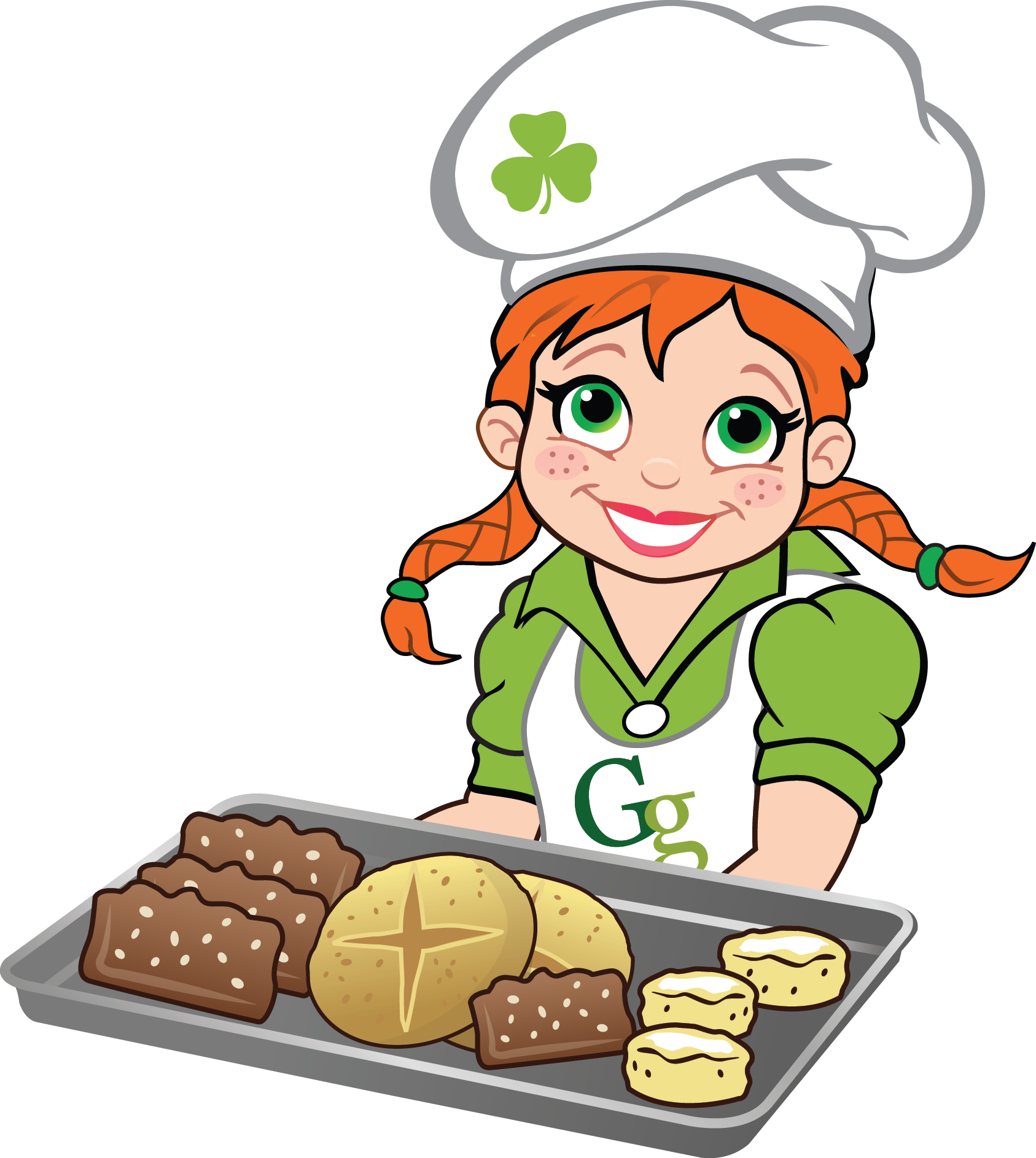 Introducing gaelic girl bread. Cooking clipart mix food