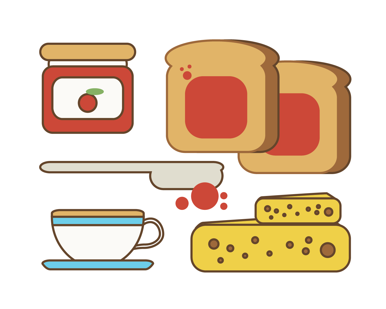 Around the world in. Clipart bread jam