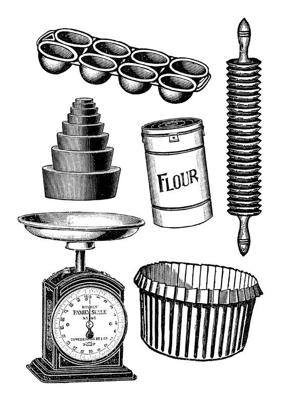 Baking art print kitchen. Clipart bread pastry tool