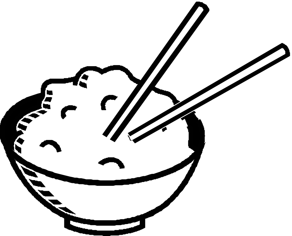 Noodles clipart bowl drawing. Rice black and white
