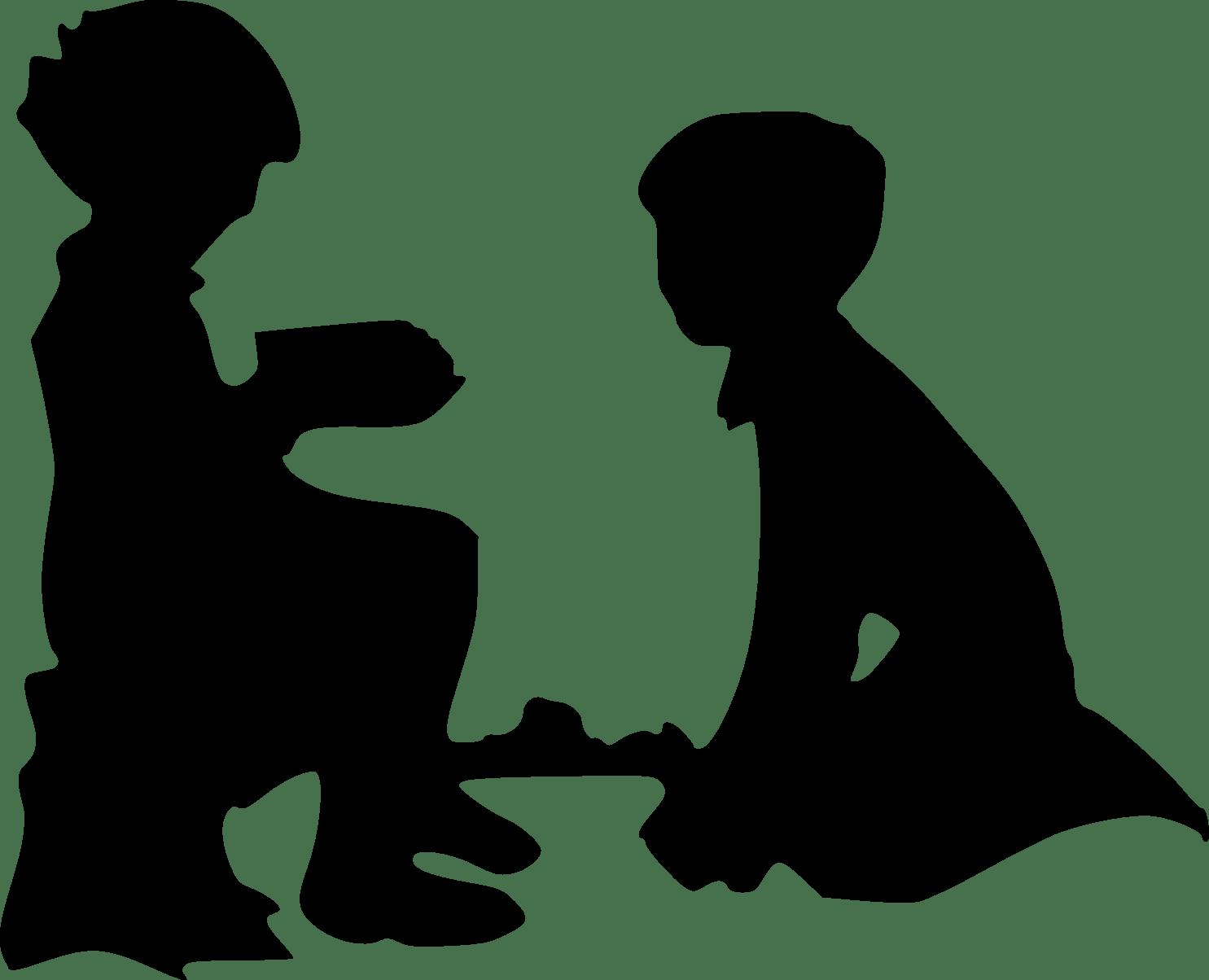 Silhouette clip art children. Father clipart father child