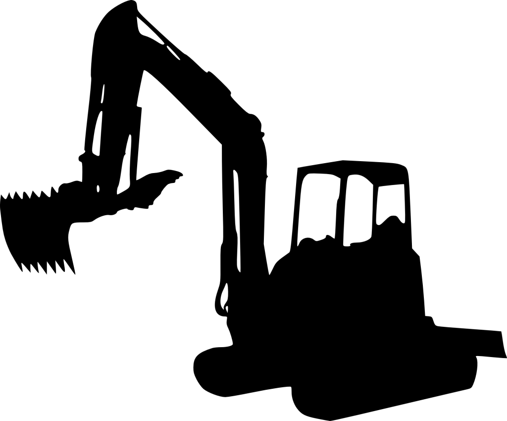 Caterpillar inc excavator clip. Clipart bread silhouette