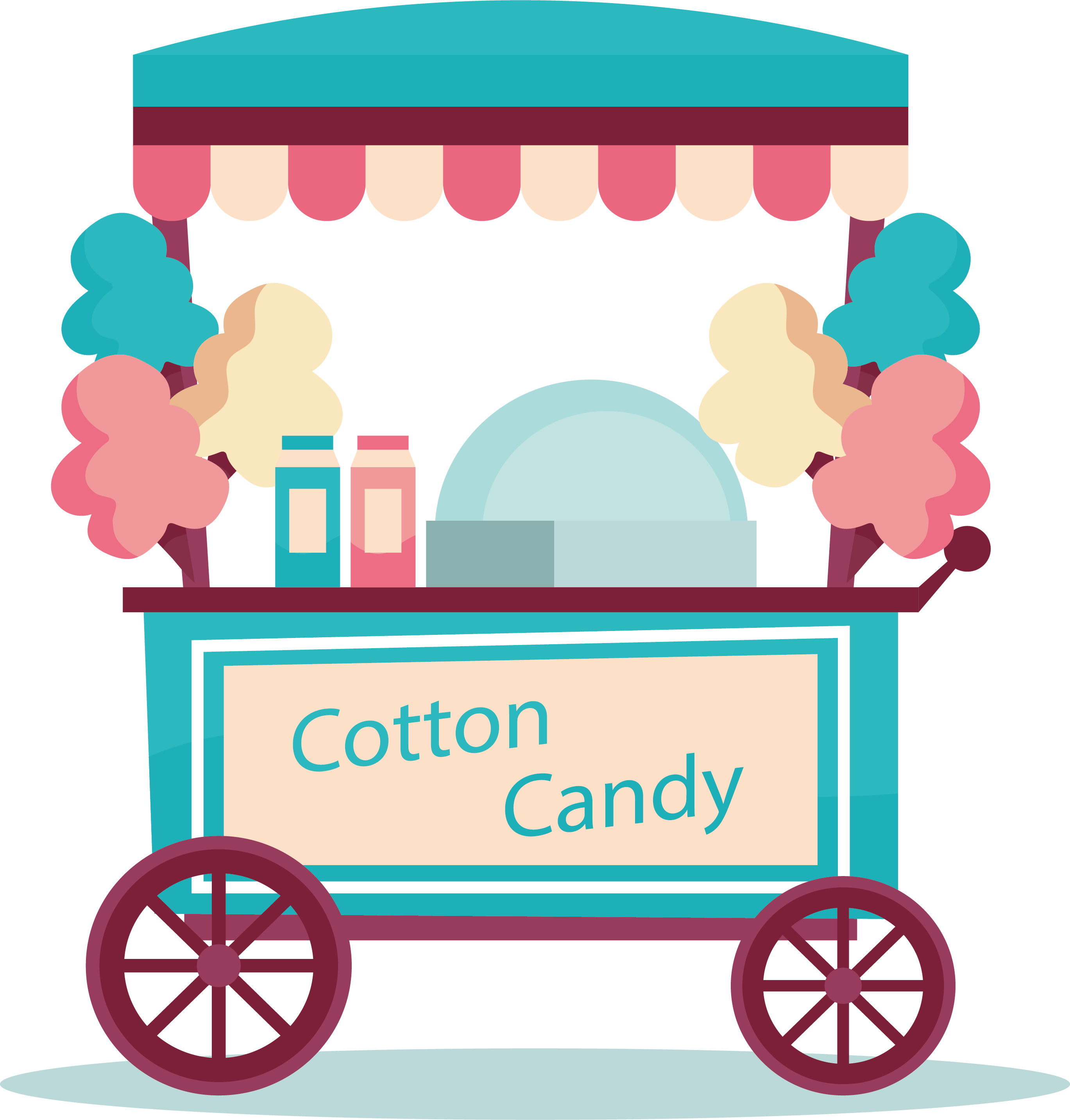 Donut clipart cart. Cotton candy cane lollipop