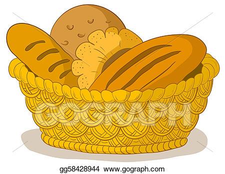 Clipart bread tasty bread. In a basket stock