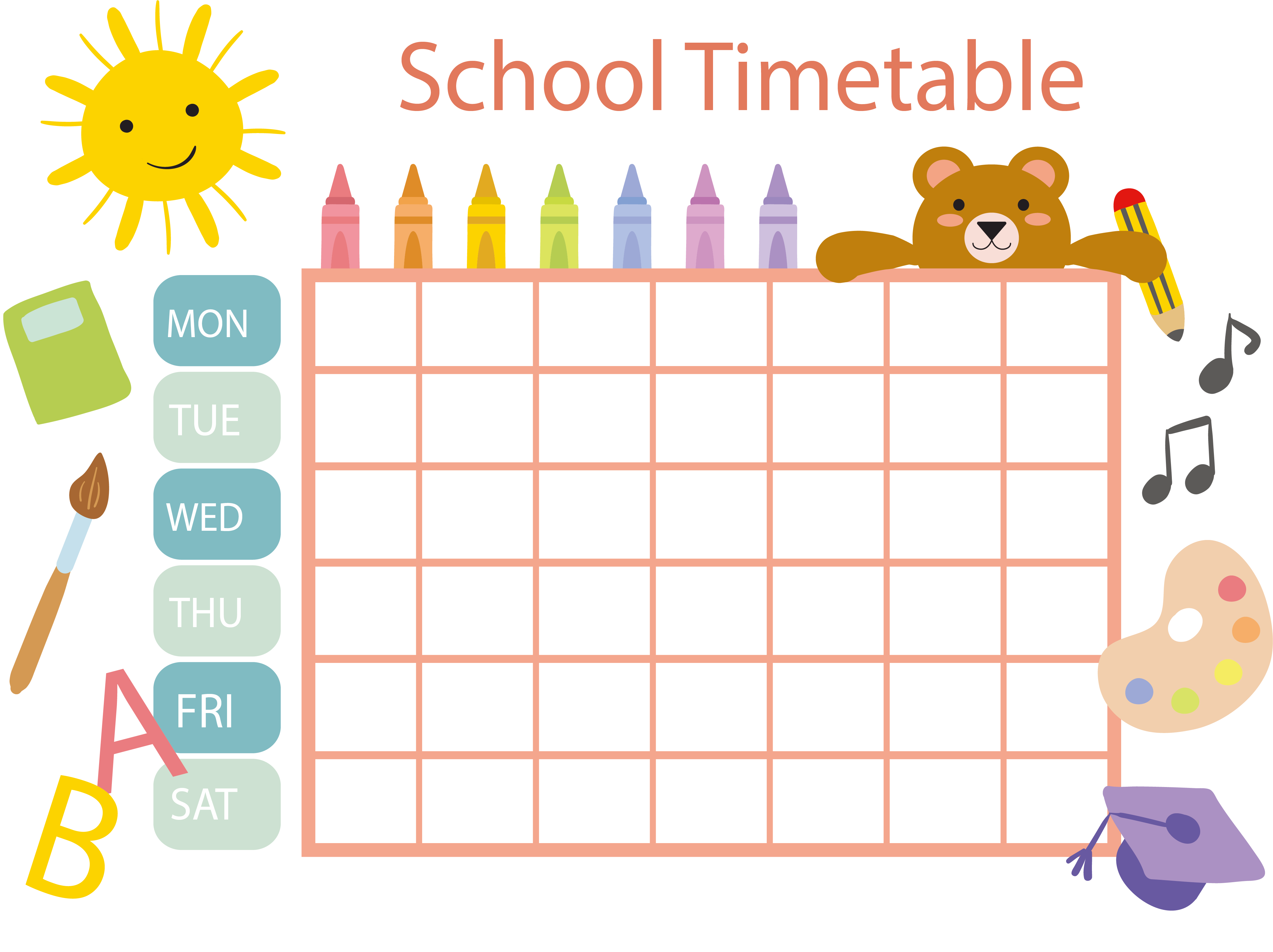 Facebook clipart template. School timetable schedule clip