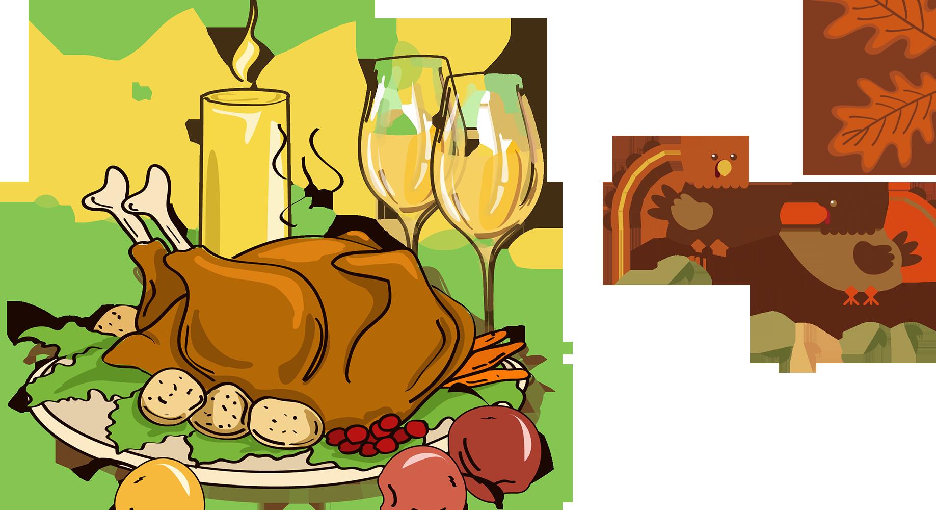 Dinner clipart dinner drink. Turkey meat thanksgiving cartoon