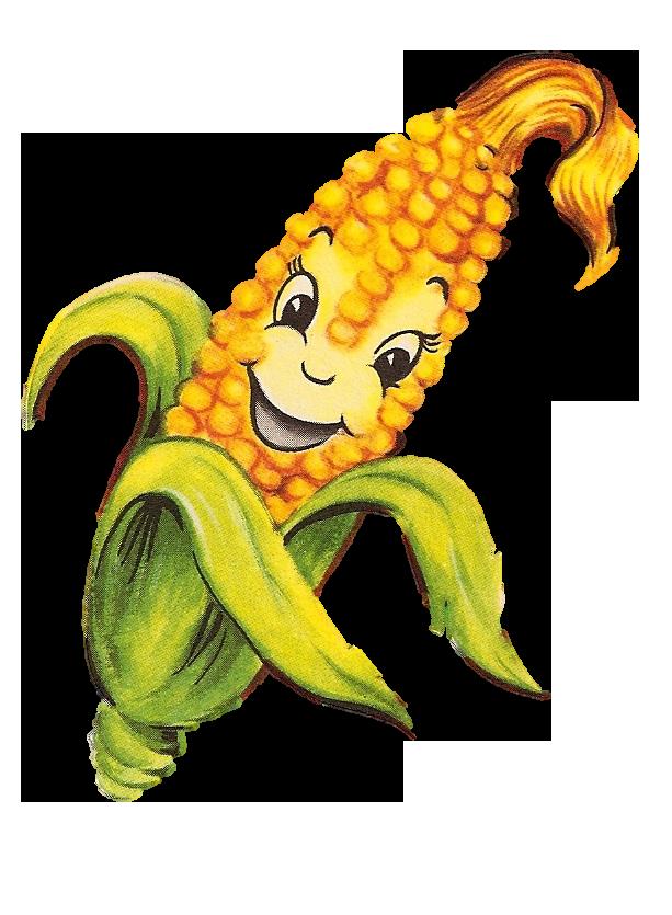 Vintage anthropomorphic corn cob. Clipart pineapple character